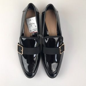 Zara Black Loafers with Gold Buckle